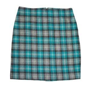 NWT Talbots Plaid Pencil Wool Blend Skirt 10
